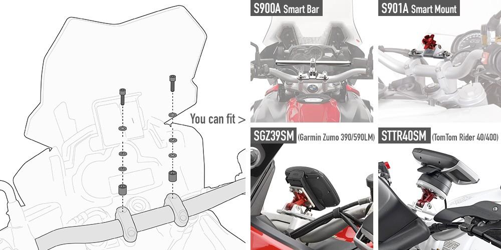 Pritaikymo komplektas aksesuarų tvirtinimo ant vairo strypui GIVI (02SKIT)