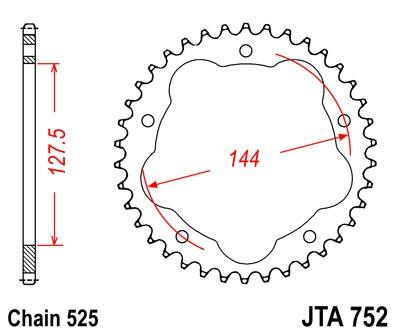 Galinė aliumininė žvaigždė JTA 752-40 40T