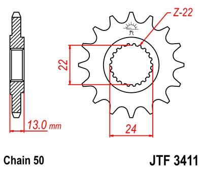 Priekinė žvaigždė JT (JTF 3411-16)