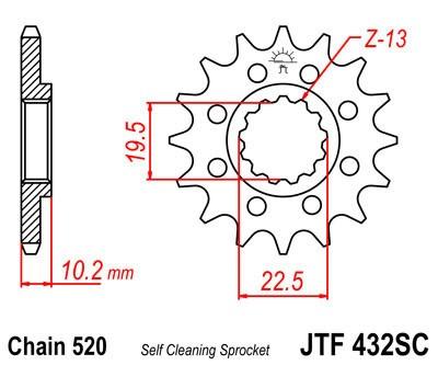 Priekinė žvaigždė JT (JTF 432-14 SC)