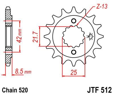 Priekinė žvaigždė JT (JTF 512-16)