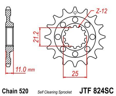 Priekinė žvaigždė JT (JTF 824-14 SC)