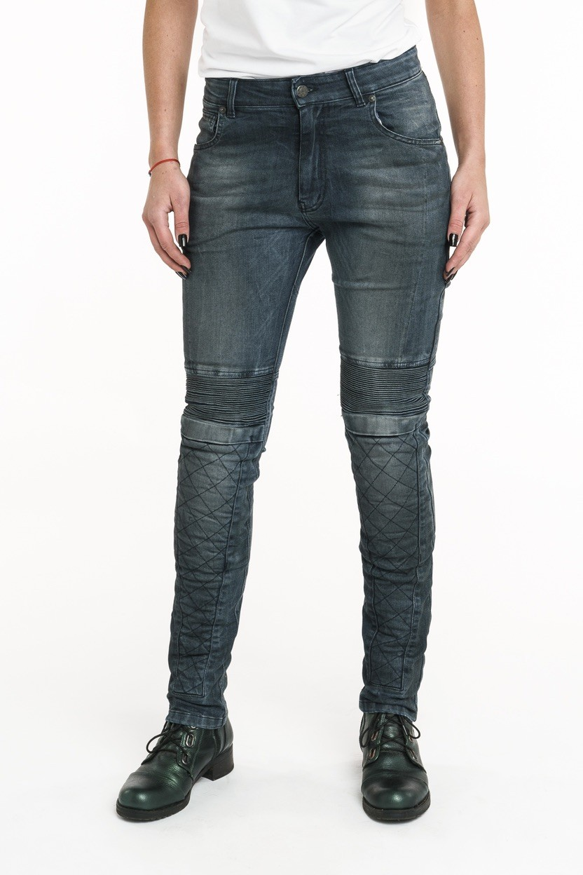 PANDO MOTO Rosie Navy Plain – Women's Slim-Fit, Motorcycle Jeans With Cordura®