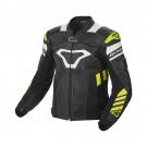 Leather jacket Macna Tracktix (Black/White/Neon yellow)