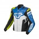 Leather jacket Macna Tracktix (White/Neon yellow/Blue)