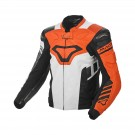 Leather jacket Macna Tracktix (Orange/White/Grey)